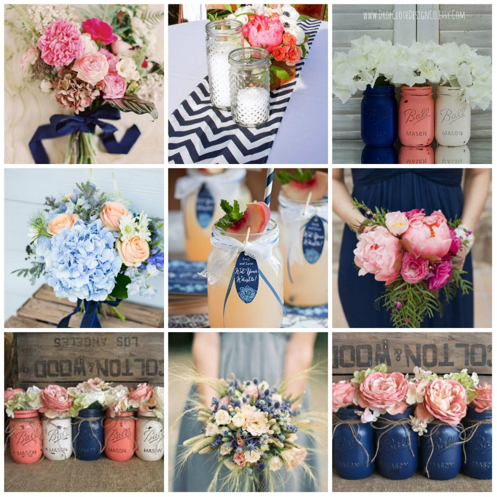 flowers wedding navy peach