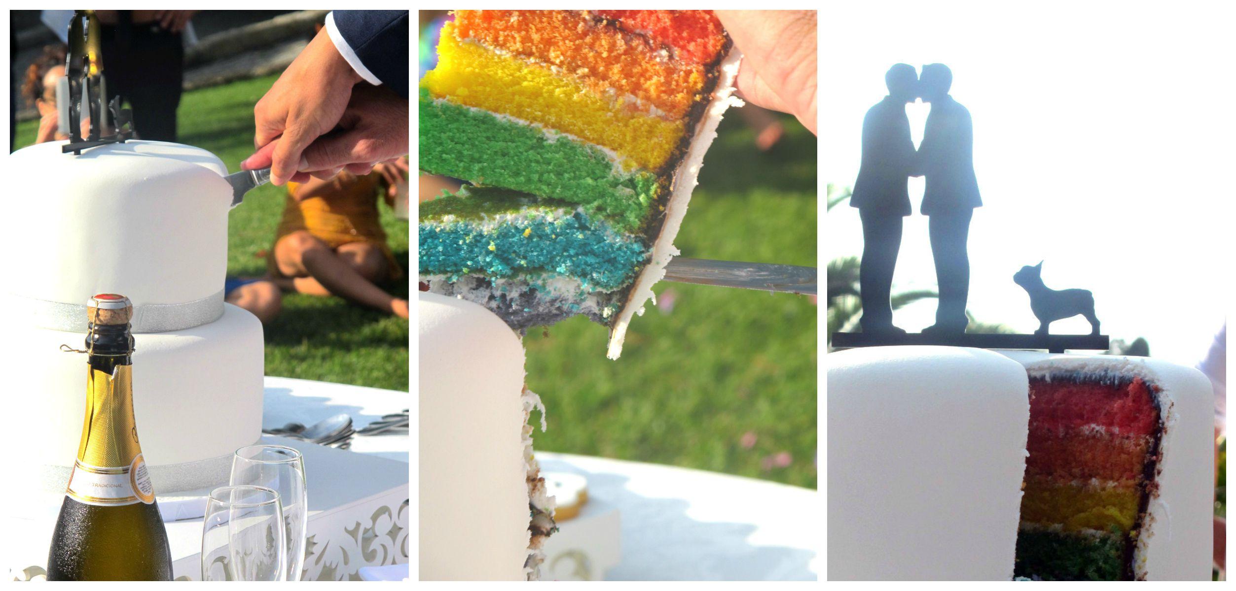 Taglio della torta arcobaleno