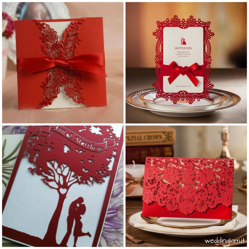 partecipazioni matrimonio rosso