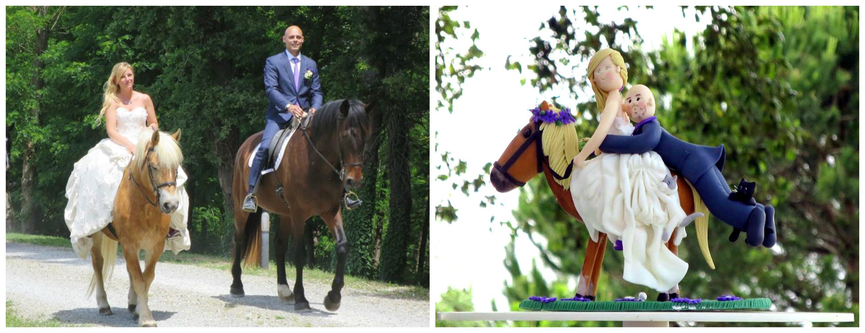 Cake Topper sposi a cavallo